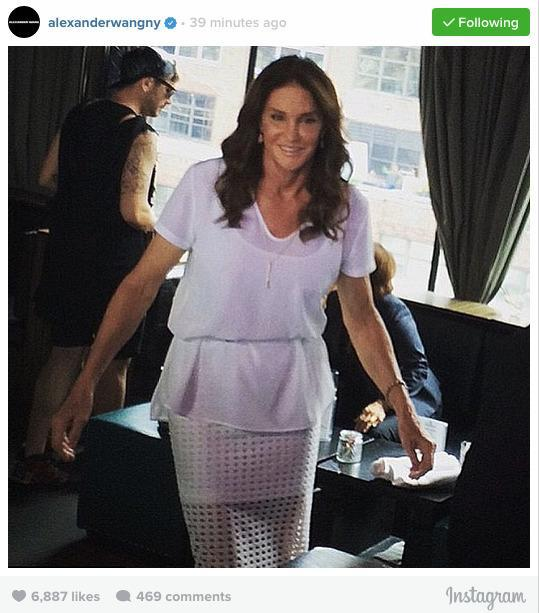 <p>At New York City's PH-D Lounge at the Dream Downtown Hotel, Jenner attended a party for gay pride. She made a surprise entrance wearing a belted white T-shirt with camisole underneath, paired with a pencil skirt (Alexander Wang's official Instagram account revealed that Jenner was wearing the Circular Hole Jacquard Midi Skirt from the T by Alexander Wang Spring 2015 collection (you can have it too for $195). Her hair was down, styled in loose waves, her lip gloss was popping, and she wore simple accessories, including a bracelet, a long chain necklace, and earrings.</p>
