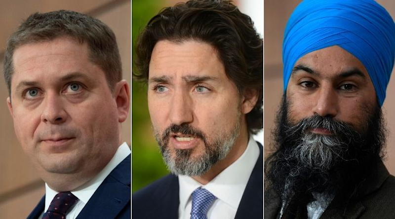 Conservative Leader Andrew Scheer, Prime Minister Justin Trudeau, and NDP Leader Jagmeet Singh are shown in a composite of images from The Canadian Press. (Photo: CP)
