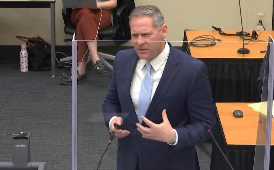 In this image from video, prosecutor Steve Schleicher gives closing arguments as Hennepin County Judge PeterCahill presides Monday, April 19, 2021, in the trial of former Minneapolis police Officer Derek Chauvin at the Hennepin County Courthouse in Minneapolis.
