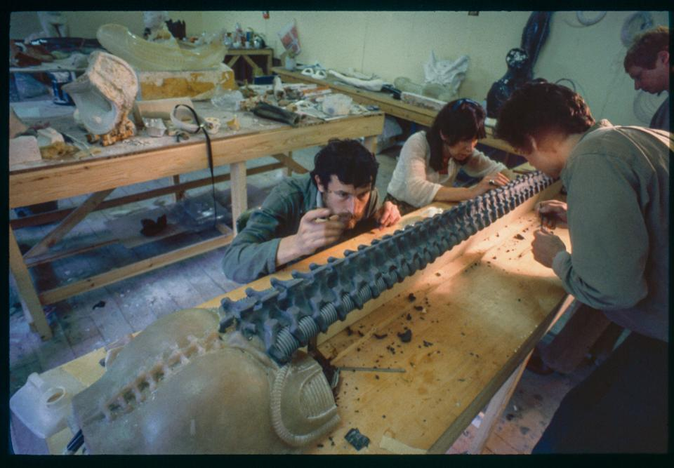 Giger's crew at work in the studio on the early translucent version of the Xenomorph (Photo: Courtesy of and ©2021 Museum HR Giger)