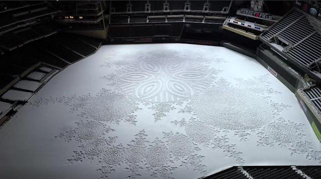 Snow artist Simon Beck created a masterpiece at snow-covered Target Field. (Twins)