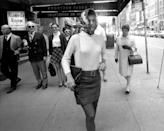 "<p>Jacqueline Kennedy Onassis leaving the Rendezvous theater following a showing of ""I Am Curious (Yellow).""</p>"