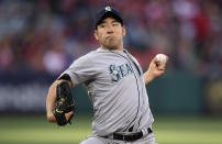 Seattle Mariners starting pitcher Yusei Kikuchi, of Japan, throws to the plate during the first inning of a baseball game against the Los Angeles Angels Saturday, April 20, 2019, in Anaheim, Calif. (AP Photo/Mark J. Terrill)