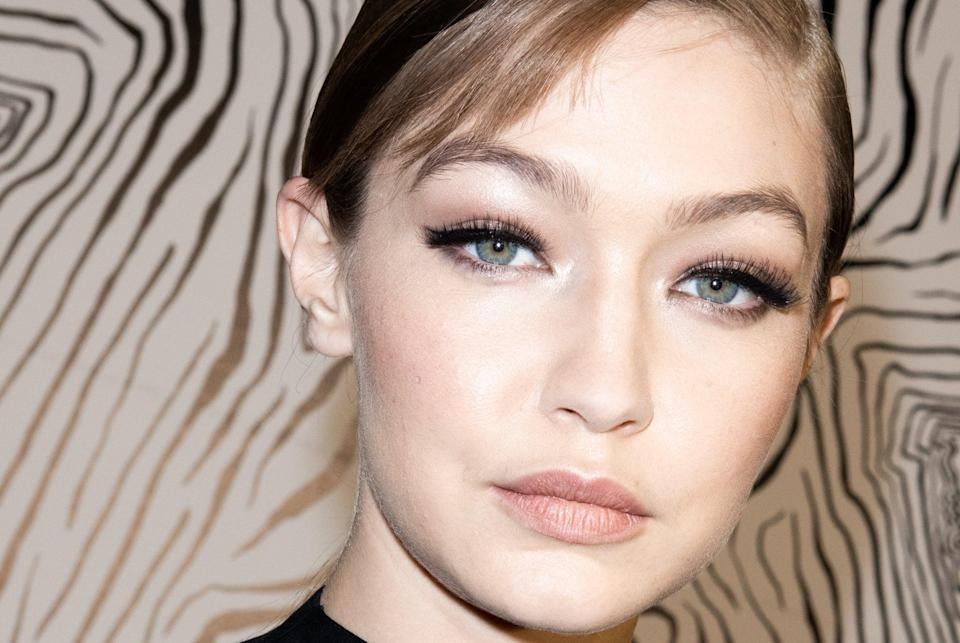 MILAN, ITALY - FEBRUARY 21: Top Model Gigi Hadid, make up detail  is seen backstage at the Versace fashion show on February 21, 2020 in Milan, Italy. (Photo by Rosdiana Ciaravolo/Getty Images)