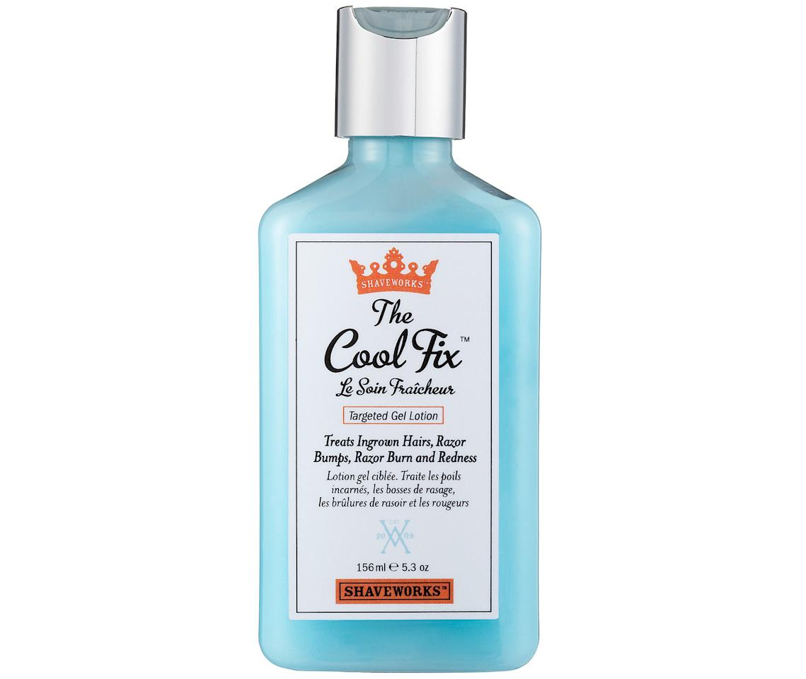 """Whether you wax or shave, the delicate down-there skin can get angry as a result. Use this soothing gel between sessions to exfoliate, calm the skin and prevent ingrown hairs.""  Shaveworks The Cool Fix, $12; at <a rel=""nofollow"" href=""http://www.sephora.com/the-cool-fix-P238412?skuId=1232826"" rel="""">Sephora</a>"