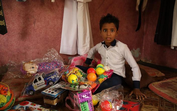 Aiman*, who has brain atrophy, dreams of being a pharmacist and president of Yemen when he grows up, and is tired of staying at home for fear of getting infected - Sami M Jassar/Save the Children