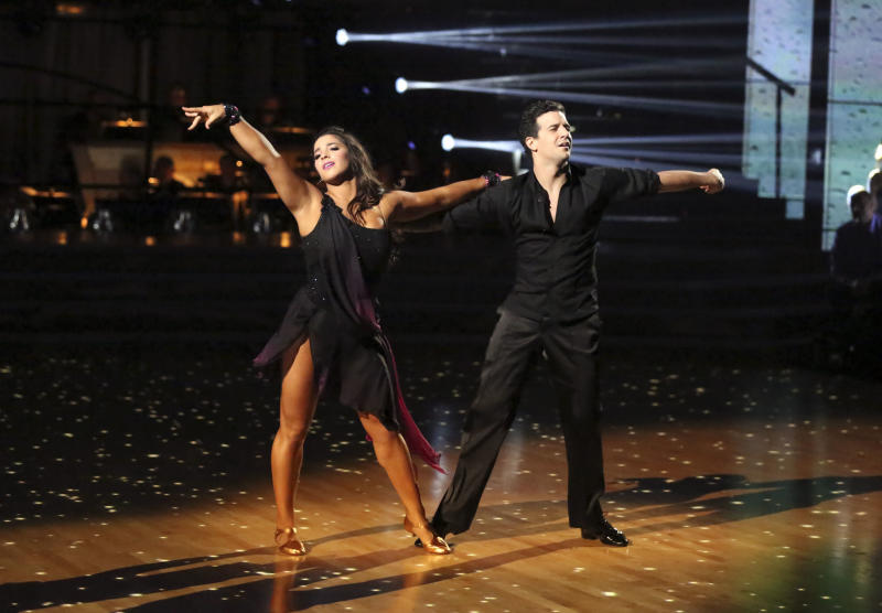"This May 13, 2013 photo released by ABC shows U.S. Olympic gymnast Aly Raisman and her partner Mark Ballas performing on the celebrity dance competition series ""Dancing with the Stars,"" in Los Angeles. Raisman is one of four celebrities competing in the finals Monday, May 20. A winner will be announced on Tuesday. (AP Photo/ABC, Adam Taylor)"