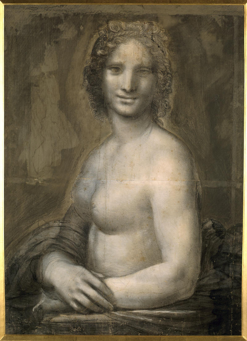 "Leonardo da Vinci (1452-1519), Italian school. Nude woman. Study for the ""Mona Lisa."" Pencil on brown paper, 0.72 x 0.54 m. Chantilly, Musée Condé. (Photo by Christophel Fine Art / UIG via Getty Images) (Christophel Fine Art via Getty Images)"