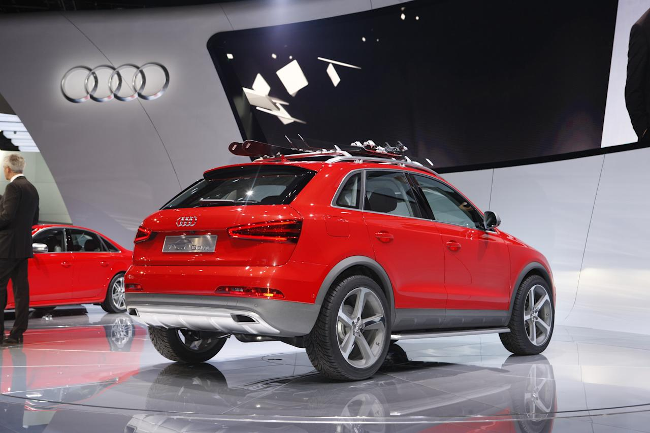 Already on sale in Europe, the compact Q3 SUV crossover has yet to reach North American shores. But that's about to change, and Audi has unveiled the Audi Q3 Vail concept at the 2012 Detroit Auto Show. Named after the Colorado ski resort, the luxury crossover features more rugged, Allroad-esque trim with its matte body cladding. Powered by a 314-horsepower five-cylinder engine, the Q3 Vail sprints to 0-60 in 5.5 seconds.