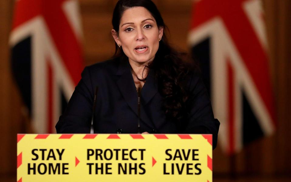 Home Secretary Priti Patel speaks during a news conference about the ongoing situation with the coronavirus disease - Matt Dunham/Pool/Reuters