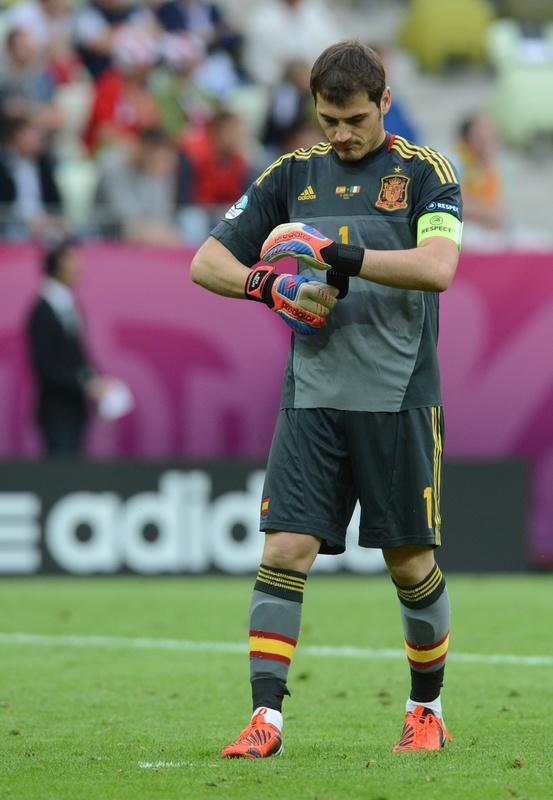 Spanish goalkeeper Iker Casillas leaves the pitch at the end of the Euro 2012 championships football match Spain vs Italy on June 10, 2012 at the Gdansk Arena. AFP PHOTO / CHRISTOF STACHECHRISTOF STACHE/AFP/GettyImages