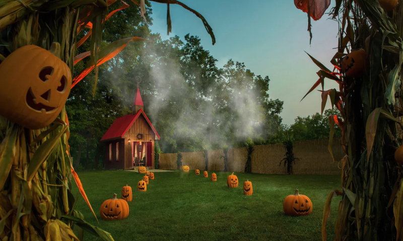 A pumpkin-lit pathway leads to the tiny house. (Photo: Airbnb)