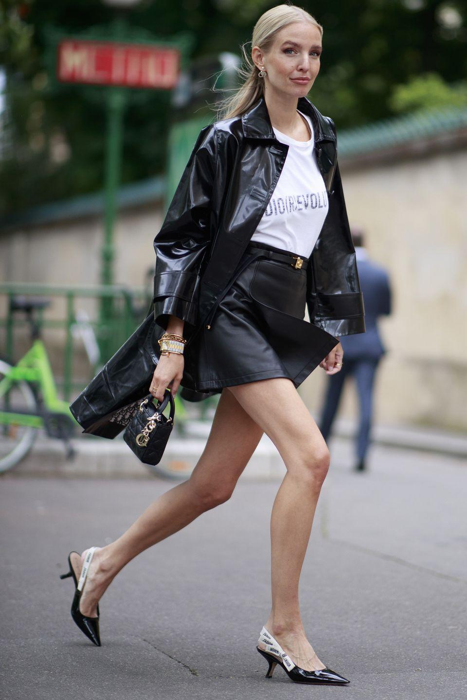 <p>A patent trench coat is a true investment piece for any wardrobe, as it can be styled with pretty much anything, any time of year. Pair it with your comfy jeans and trainers on the weekend, or with a mini skirt and heels for an event just like this fashion-week attendee.</p>