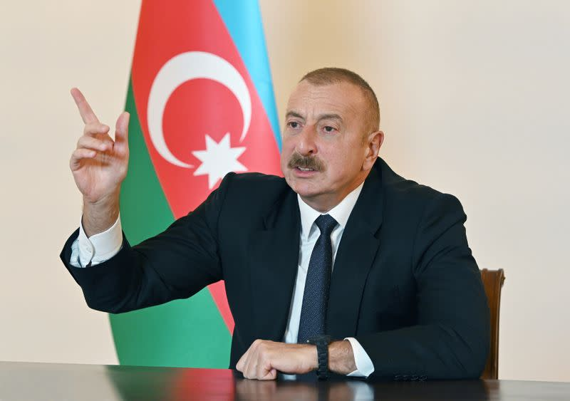 Azerbaijan's President Ilham Aliyev speaks during an address to the nation in Baku