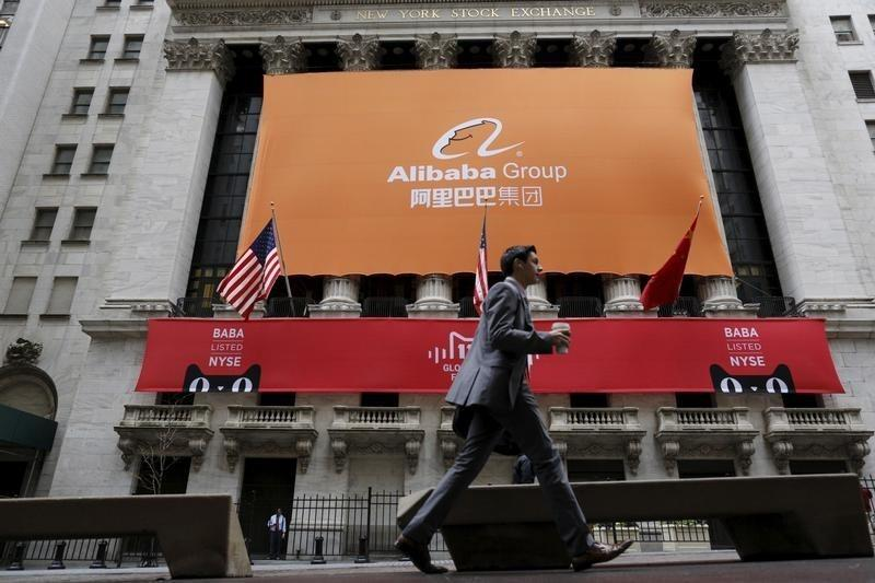 Signage for Alibaba Group Holding Ltd. covers the front facade of the New York Stock Exchange