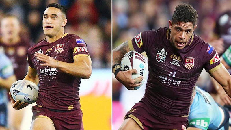 Pictured here, Maroons try-scoring machines Valentine Holmes and Dane Gagai.