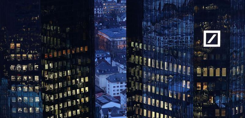 The headquarters of Germany's Deutsche Bank are seen early evening in Frankfurt