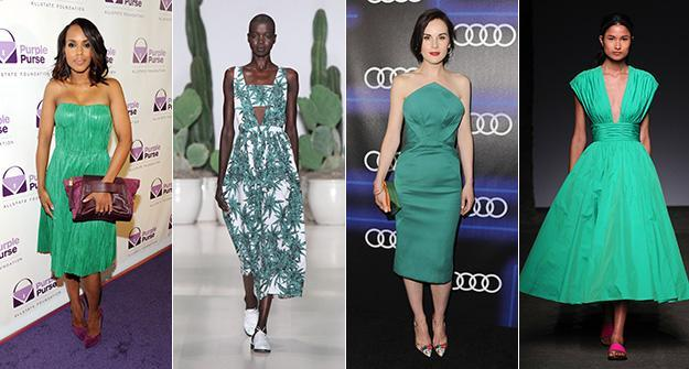 green runway fashion style celebrity