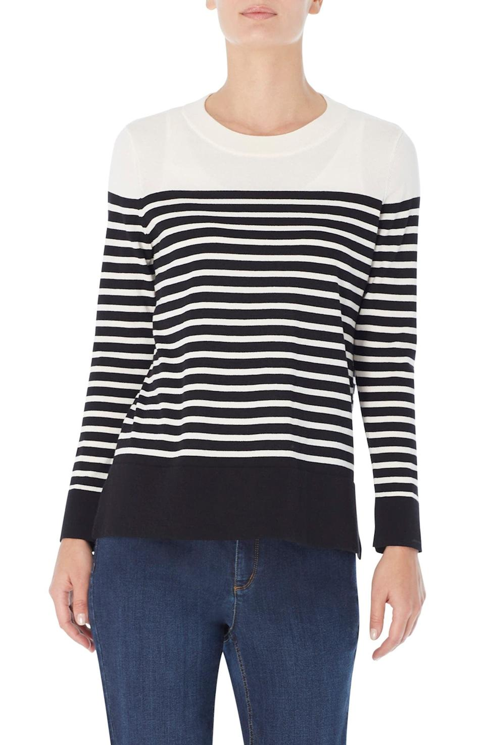 """<p>A striped sweater will never go out of style. This <a href=""""https://www.popsugar.com/fashion/top-rated-sweaters-from-nordstrom-48516965?stream_view=1&amp;bonsai=product_ckkevdufe1dxu1dai9jvg1yuv&amp;bonsaiRedirect=https%253A%252F%252Fwww.popsugar.com%252Ffashion%252Ftop-rated-sweaters-from-nordstrom-48516965%253Fstream_view%253D1&amp;bonsaiSource=link&amp;bonsaiType=links&amp;isExternal=true"""" class=""""link rapid-noclick-resp"""" rel=""""nofollow noopener"""" target=""""_blank"""" data-ylk=""""slk:Jones New York Stripe Crewneck Sweater"""">Jones New York Stripe Crewneck Sweater</a> ($100) is classic and elegant.</p>"""