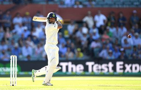 India's Cheteshwar Pujara looks on after playing a shot during day one of the first test match between Australia and India at the Adelaide Oval in Adelaide, Australia, December 6, 2018. APP/Dave Hunt via REUTERS