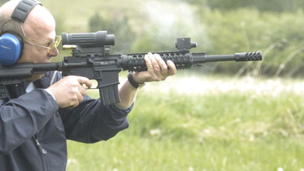 Pacific Northwest - John Adrain tests a high-powered Beowulf rifle.