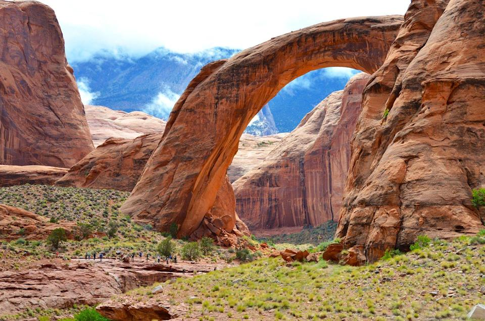 "<p>Considered the world's highest natural bridge, its span is reported to be 234 feet. <a href=""https://www.lakepowell.com/marinas/boat-tours/rainbow-bridge-tour/"" rel=""nofollow noopener"" target=""_blank"" data-ylk=""slk:Rainbow Bridge"" class=""link rapid-noclick-resp"">Rainbow Bridge</a> is often noted as having historical and cultural significance to Native American tribes nearby. </p>"