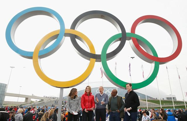SOCHI, RUSSIA - FEBRUARY 21: (BROADCAST-OUT) (L-R) Natalie Morales, Savannah Guthrie, Matt Lauer, Al Roker and Willie Geist of the NBC TODAY Show report from the Olympic Park during the Sochi 2014 Winter Olympics on February 21, 2014 in Sochi, Russia. (Photo by Scott Halleran/Getty Images)