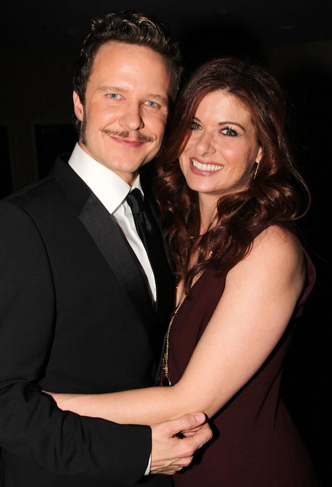 "NEW YORK, NY - NOVEMBER 13:  (EXCLUSIVE COVERAGE) Will Chase and girlfriend Debra Messing attend the Broadway opening night of ""The Mystery Of Edwin Drood"" at Roundabout Theatre Company's Studio 54 Theater on November 13, 2012 in New York City.  (Photo by Bruce Glikas/FilmMagic)"