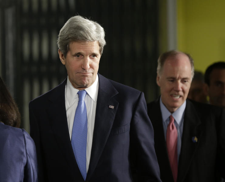 Secretary of State John Kerry, left, followed by National Security Advisor Tom Donilon, arrives for the joint news conference between President Barack Obama and Israeli Prime Minister Benjamin Netanyahu in Jerusalem, Israel,Wednesday, March 20, 2013. (AP Photo/Pablo Martinez Monsivais)