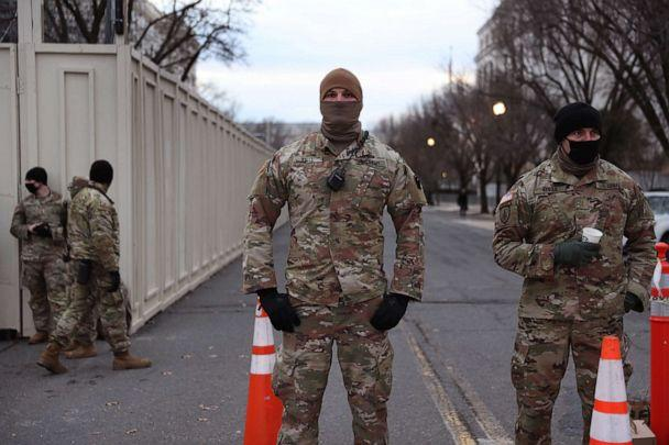 PHOTO: Members of the Maryland National Guard stand guard around the Dirksen and Russell Senate Office Building two days after a pro-Trump mob broke into the U.S. Capitol Building, Jan. 8, 2021, in Washington, D.C. (Joe Raedle/Getty Images)