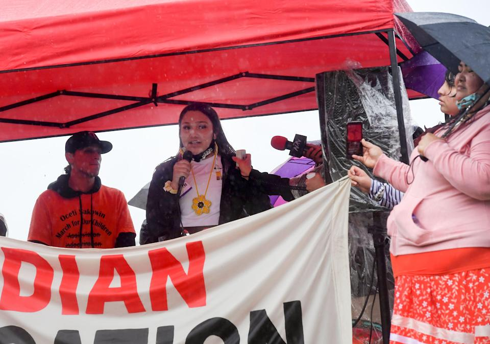 Breana Brings Plenty, 16-year-old Little Wound High School student, speaks at a demonstration after the final draft of the state's proposed social studies standards left out multiple specific references to the Oceti Sakowin on Monday, September 13, 2021, in Pierre.