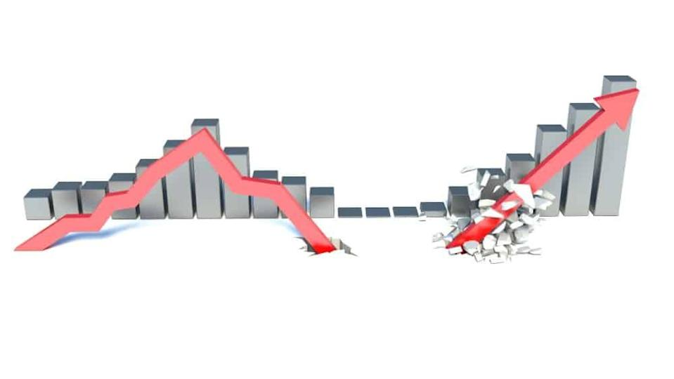 falling red arrow and lifting