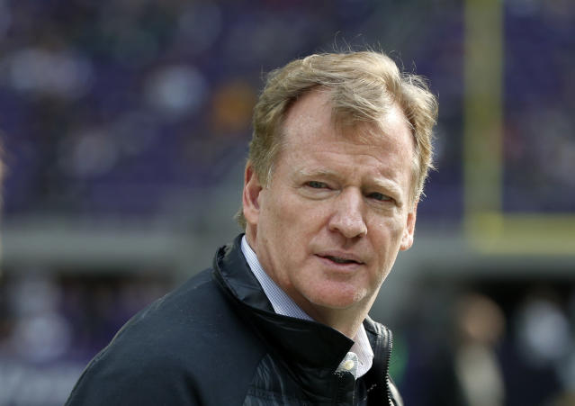 NFL Commissioner Roger Goodell watches a game between the Vikings and Packers on Oct. 15, 2017. (AP/Bruce Kluckhohn)