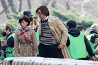 <p>Lady Gaga and Adam Driver in coordinated trench coats on set in Milan. </p>