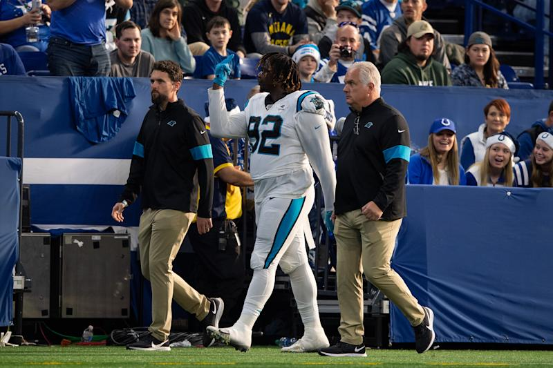 INDIANAPOLIS, IN - DECEMBER 22: Carolina Panthers defensive tackle Vernon Butler (92) gives the fans the middle finger after getting ejected during the NFL game between the Carolina Panthers and the Indianapolis Colts on December 22, 2019 at Lucas Oil Stadium, in Indianapolis, IN. (Photo by Zach Bolinger/Icon Sportswire via Getty Images)