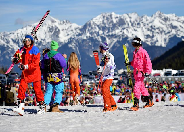 People take part in Ugly Skiing Day in Axams, Austria April 6, 2019. REUTERS/Angelika Warmuth