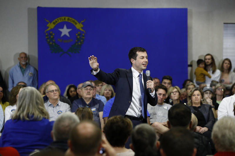 Democratic presidential candidate, former South Bend, Ind., Mayor Pete Buttigieg speaks during a campaign event at Durango Hills Community Center in Las Vegas, Tuesday, Feb. 18, 2020. (AP Photo/Patrick Semansky)
