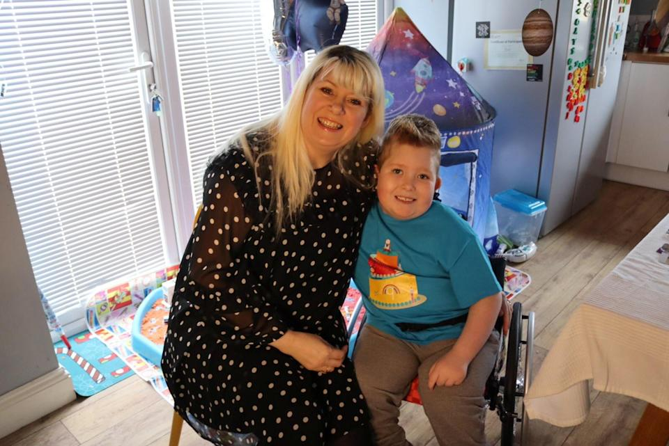 Mum Michelle with Noah celebrating his 9th birthday earlier this month. (SWNS)