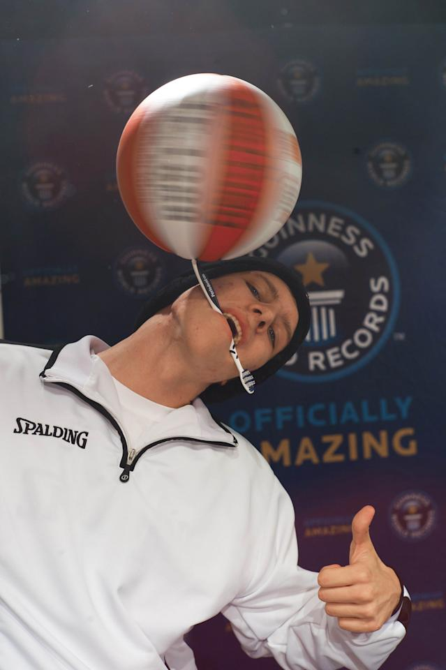 Michael Kopp had beginners luck as he managed to break the record of the longest duration spinning a basketball on a toothbrush in 26.078 (Guinness World Records)