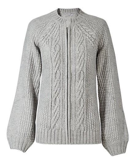 """<p>Marks and Spencer has seriously upped its sartorial game over the past couple of years. Need proof? Look no further than their knit department. <em><a rel=""""nofollow"""" href=""""http://www.marksandspencer.com/cable-knit-round-neck-cardigan/p/p22511711?image=SD_01_T38_8014U_KU_X_EC_90&color=SILVERGREY&prevPage=plp"""">Marks and Spencer</a>, £39.50</em> </p>"""