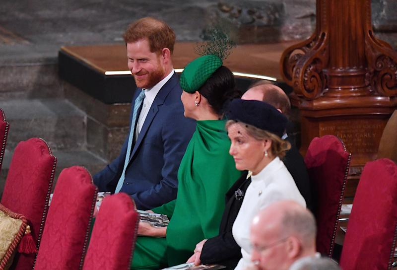 The couple exchanged a smile during their final royal engagement. (Photo: Phil Harris - WPA Pool/Getty Images)