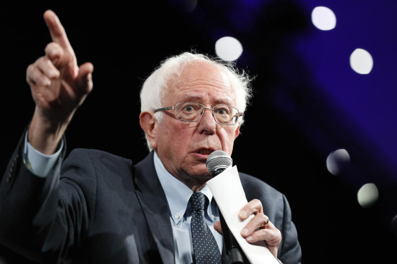 "In this Aug. 10, 2019 photo, Democratic presidential candidate Sen. Bernie Sanders speaks at the Presidential Gun Sense Forum in Des Moines, Iowa. Democratic voters appear to be re-assessing their approach to health care, and pragmatic ideas are getting a closer look. ""Medicare for All"" remains hugely popular, but in a recent poll, majorities of Democratic liberals and moderates said they would prefer to build on ""Obamacare"" to expand coverage.  (AP Photo/Charlie Neibergall)"