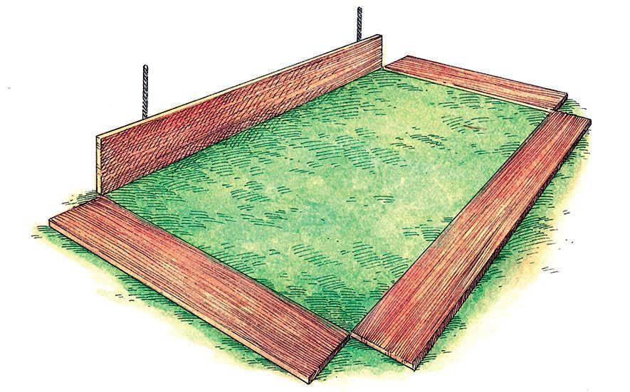"<p class=""p1""><span class=""s2"">On a level section of ground, lay the boards down with their inner corners touching. Stand one long board on its </span><span class=""s1"">side, and, using a rubber mallet, hammer two pieces of rebar </span><span class=""s2"">1 foot from each corner, a few inches deep into the ground.</span></p>"