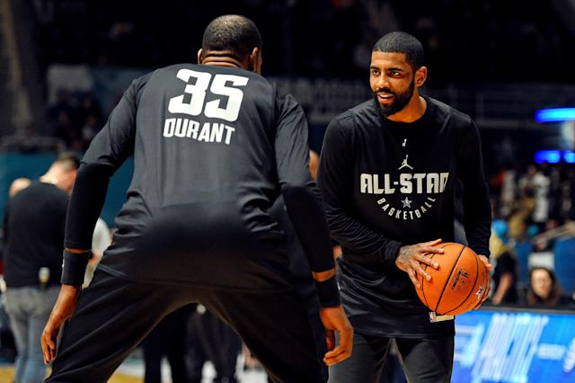 Kevin Durant and Kyrie Irving reportedly want to play with Carmelo Anthony. (Getty)