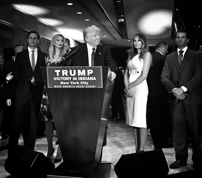 <p>Donald Trump poses with his family, including son-in-law Jared Kushner, daughter Ivanka, wife Melania and son Donald Jr., at a campaign event where he unofficially became the party's presumptive nominee on May 3 in New York. (Photo: Holly Bailey/Yahoo News) </p>
