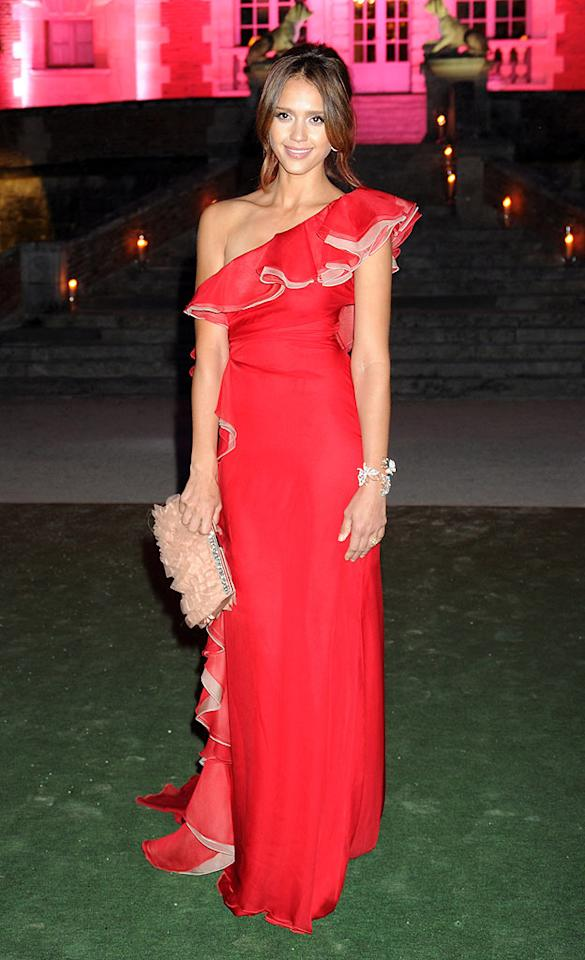 "Meanwhile in Paris, Jessica Alba delivered the va-va-voom at the ""Valentino Garavani Archives Dinner Party"" in a $7,500 Valentino Fall 2010 gown, loose updo, and diamond-encrusted cuff. Dave M. Benett/<a href=""http://www.gettyimages.com/"" target=""new"">GettyImages.com</a> - July 7, 2010"