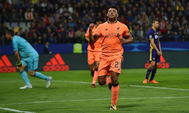 Alex Oxlade-Chamberlain celebrates after scoring the sixth goal during Liverpool's Champions League defeat of Maribor on Tuesday.