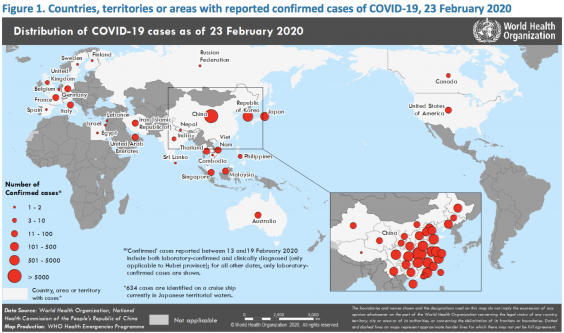 Countries, territories or areas with reported confirmed cases of Covid-19, 23 February 2020 (WHO)