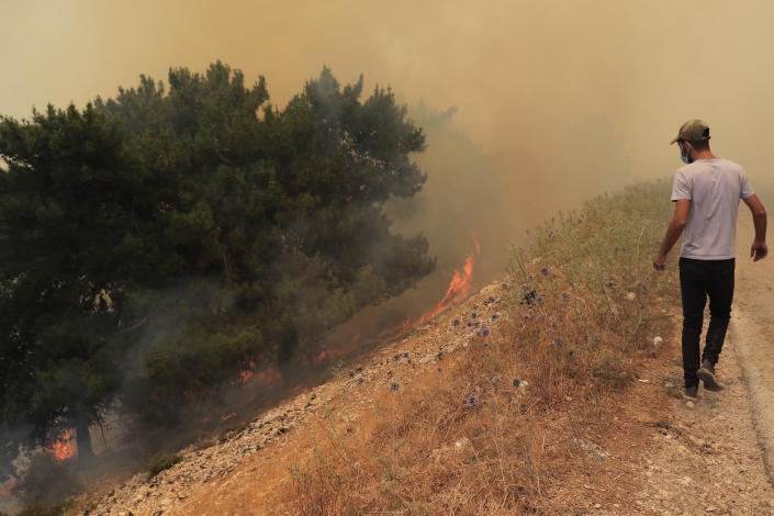 A man looks at a wildfire burning near the village of Qobayat, in the northern Akkar province, Lebanon, Thursday, July 29, 2021. Lebanese firefighters are struggling for the second day to contain wildfires in the country's north that have spread across the border into Syria, civil defense officials in both countries said Thursday. (AP Photo/Hussein Malla)