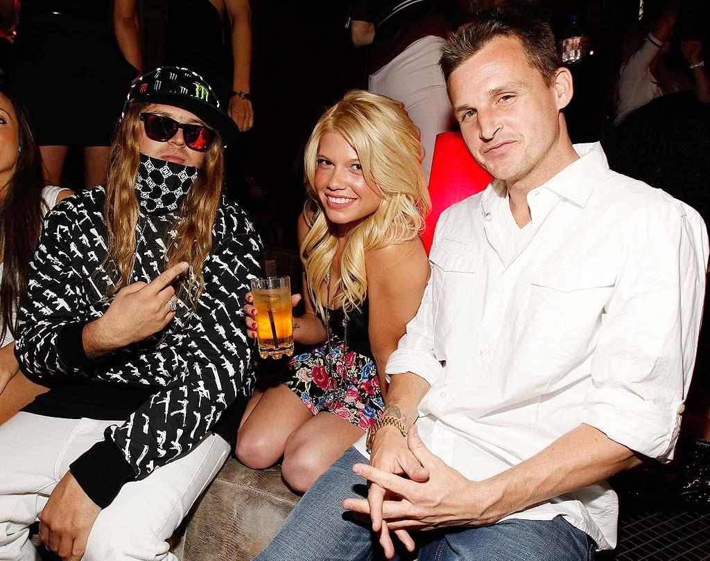 "Pro skateboarder Rob Dyrdek (far right) was spotted chilling with the Fantasy Factory's rapping receptionist Chanel and U.S. Olympic snowboarder Danny ""The Dingo"" Kass, who was apparently so cool that he had to wear his sunglasses inside. Christopher Polk/<a href=""http://www.wireimage.com"" target=""new"">WireImage.com</a> - April 28, 2010"